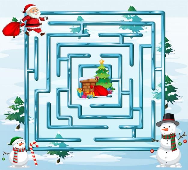 Modèle de jeu de labyrinthe de noël