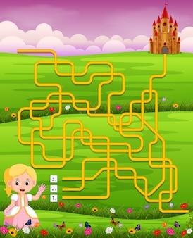 Modèle de jeu de labyrinthe avec princesse