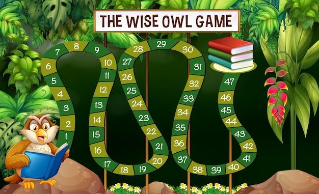 Modèle de jeu avec livre de lecture de hibou dans la jungle