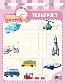 Modèle de jeu de mots croisés sur le transport