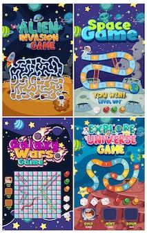 Modèle de jeu avec de nombreuses planètes en arrière-plan de l'espace