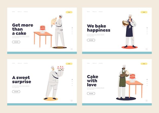 Modèle de jeu de pages de destination de service de restauration de dessert et de boulangerie