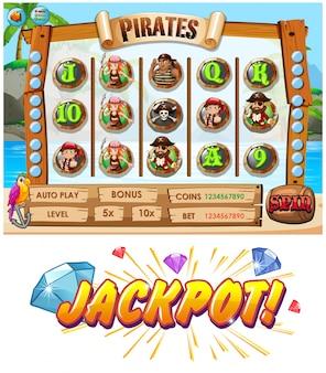 Modèle de jeu avec des personnages de l'équipe pirate