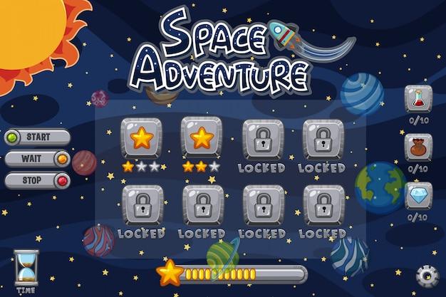 Modèle de jeu avec des planètes dans le système solaire