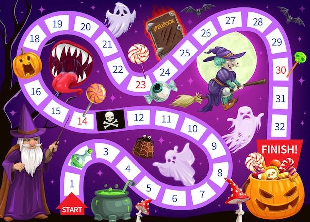 Modèle de jeu de plateau pour enfants halloween commencer à finir