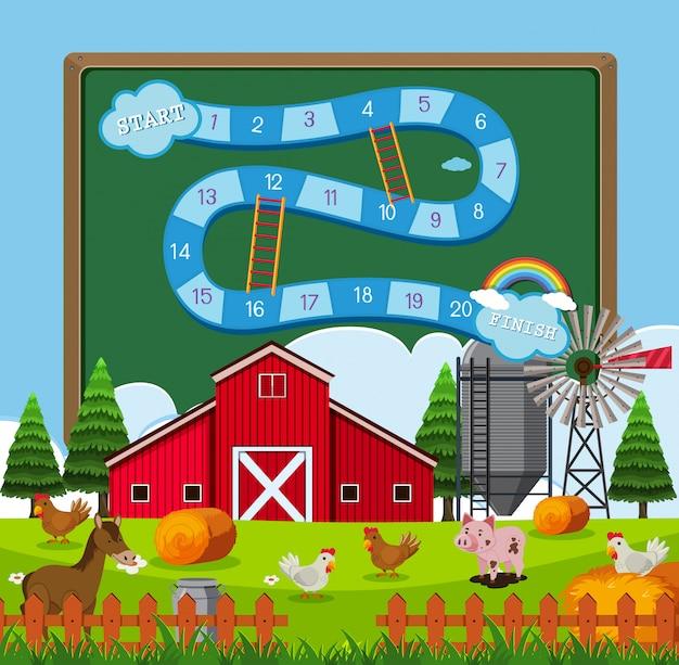 Un modèle de jeu de plateau de terres agricoles
