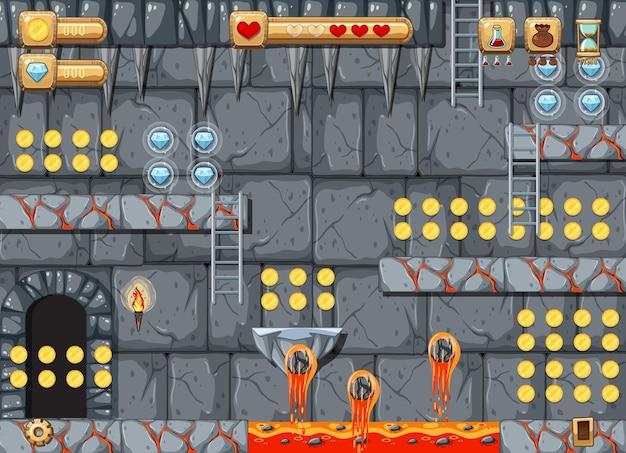 Modèle de jeu de plateforme de grotte de lave