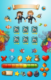 Modèle de jeu avec les plongeurs et les animaux marins