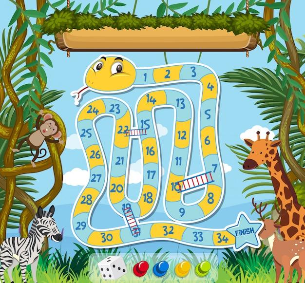 Modèle de jeu pour serpent et échelle avec fond de jungle
