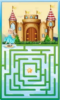 Modèle de jeu avec princesse et château