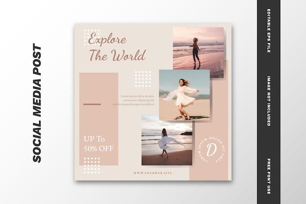 Modèle de jeu de publications sur les médias sociaux pour agence de voyage