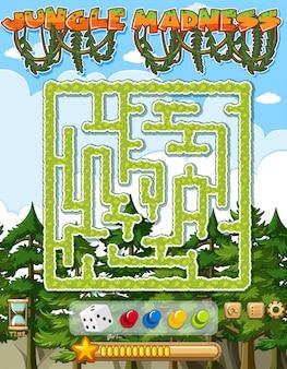 Modèle de jeu de puzzle avec des arbres verts en arrière-plan