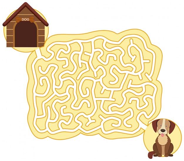 Modèle de jeu de puzzle chien labyrinthe