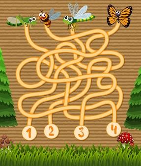 Modèle de jeu de puzzle avec des insectes dans le jardin