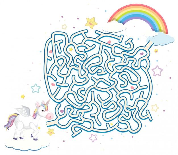 Modèle de jeu de puzzle labyrinthe de licorne