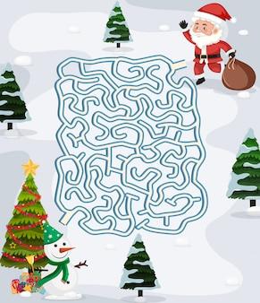 Modèle de jeu de puzzle de labyrinthe de noël