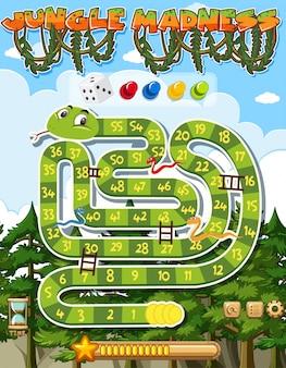Modèle de jeu de puzzle avec serpent vert et de nombreux arbres