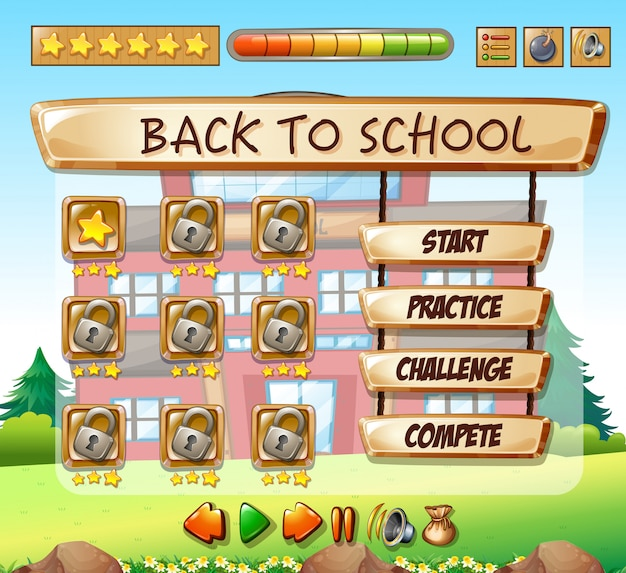 Modèle de jeu de retour à l'école