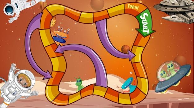 Modèle de jeu serpent et échelles avec thème de l'espace