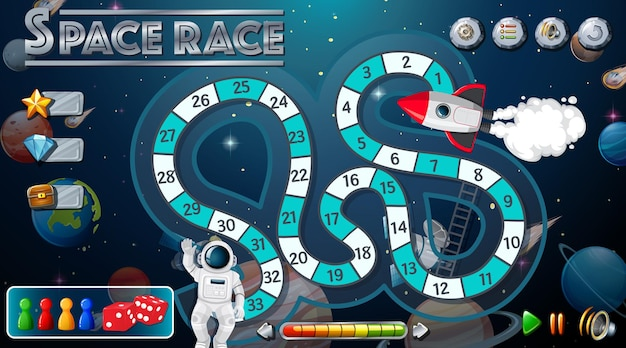Modèle de jeu de serpent et d'échelles avec le thème de l'espace