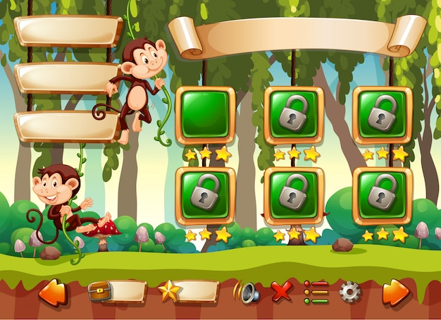 Modèle de jeu de singe de la jungle