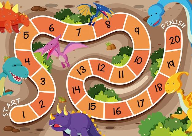 Un modèle de jeu de société de dinosaure