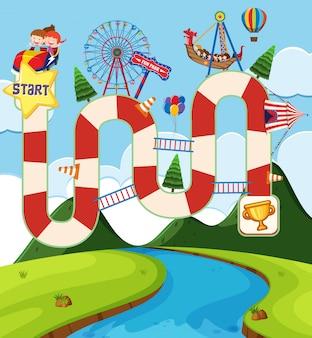 Modèle de jeu de société avec des enfants au cirque