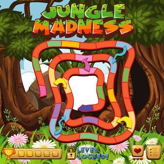 Modèle de jeu de société avec fond de forêt