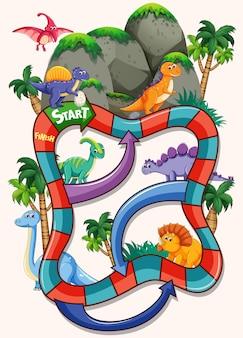Modèle de jeu de société de nombreux dinosaures