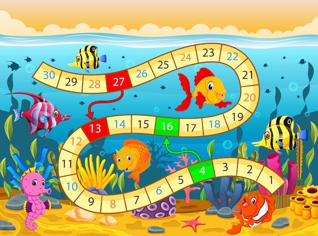 Modèle de jeu de société avec sous le fond de la mer