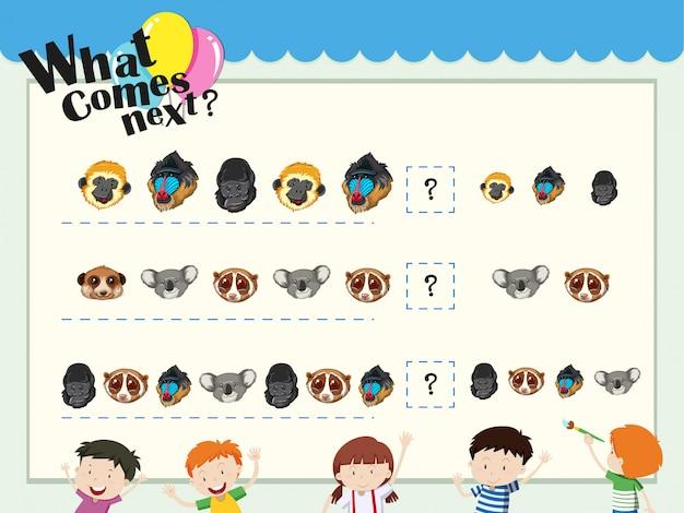 Modèle de jeu avec des têtes d'animaux assorties