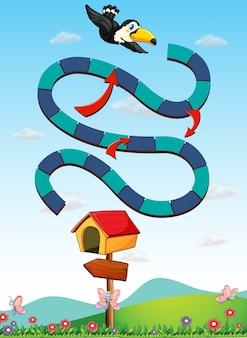 Modèle de jeu avec toucan volant