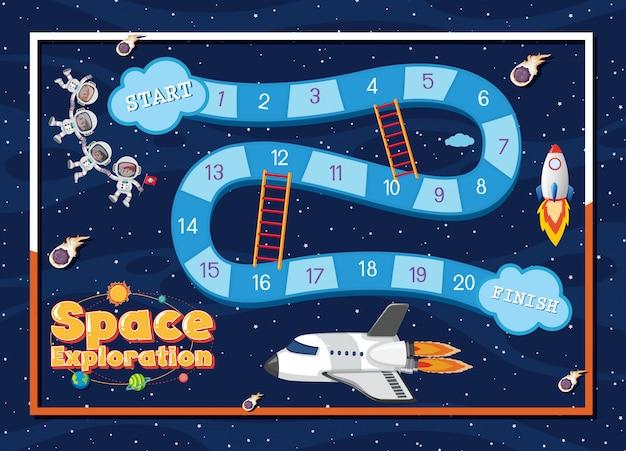 Modèle de jeu avec vaisseau spatial et astronautes