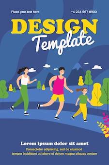 Modèle de jogging en plein air de famille heureuse