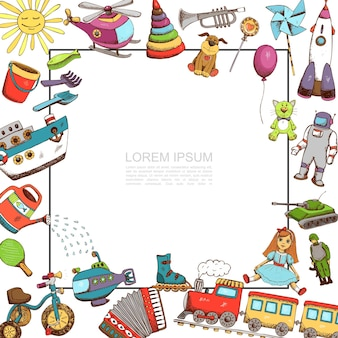 Modèle de jouets de croquis avec illustration de cadre