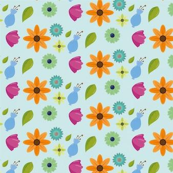 Modèle de jour womens heureux avec des fleurs et des feuilles