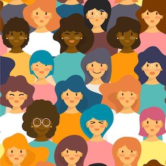 Modèle de journée de la femme avec divers visages de femmes