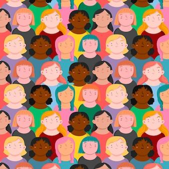 Modèle de journée des femmes avec divers visages de femmes