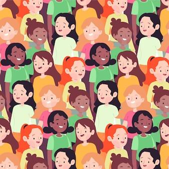 Modèle de journée des femmes avec des visages de femmes