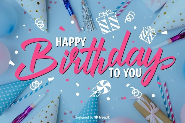 Modèle de joyeux anniversaire lettrage avec photo