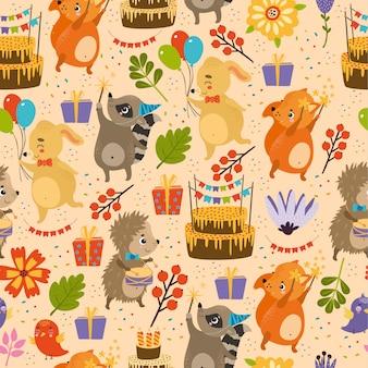 Modèle de joyeux anniversaire de vecteur, hérisson, lapin, renard, raton laveur