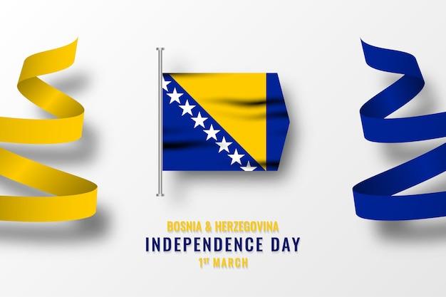 Modèle de joyeux jour de l'indépendance de la bosnie-herzégovine