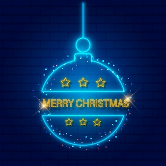 Modèle De Joyeux Noël Au Néon Vecteur gratuit