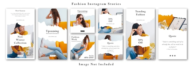 Modèle de kit d'histoires instagram de médias sociaux de mode et de kit de publication de flux