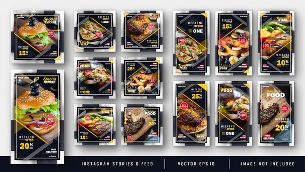 Modèle de kit de paquet d'aliments instagram sombre