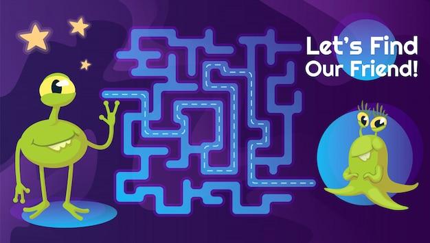 Modèle de labyrinthe d'amis étrangers