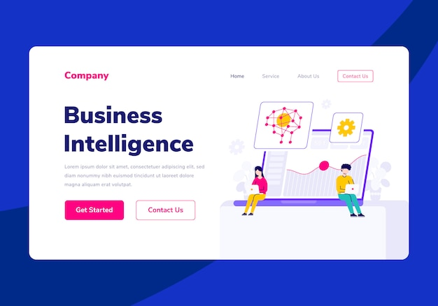 Modèle landing page people business intelligence flat illustration
