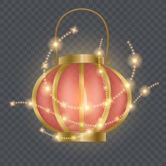 Modèle de lanterne rouge chinoise festive, lampe entourée d'étoiles brillantes isolées