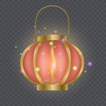 Modèle de lanterne rouge chinoise festive, lampe isolée