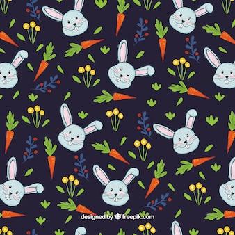 Modèle de lapins et carottes aquarelles